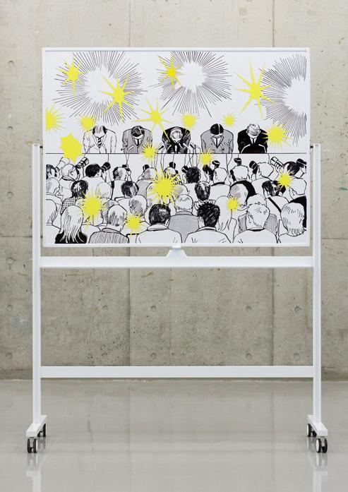 「表と裏(表)」2011年 180×130×55.6cm ホワイトボード、油性マジック、マグネットシート