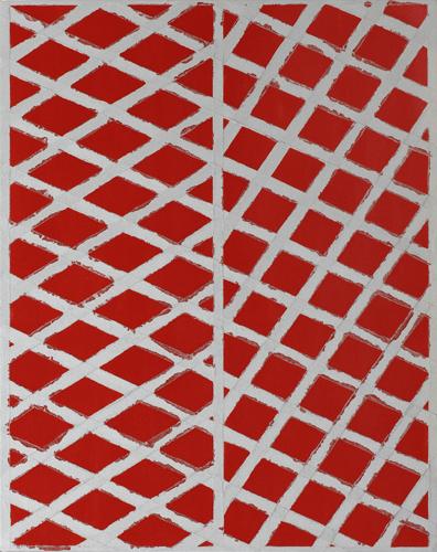 示差性の絵画-赤と銀II /パネル・綿布・アクリル絵具/2013年/91.0×72.7cm