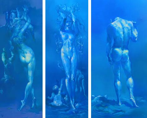 《アダムとイヴ》2008年 油彩・画布