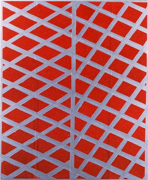 <示差性の絵画ー赤と銀>1987年/アクリル、キャンバス/194.5×162.5cm