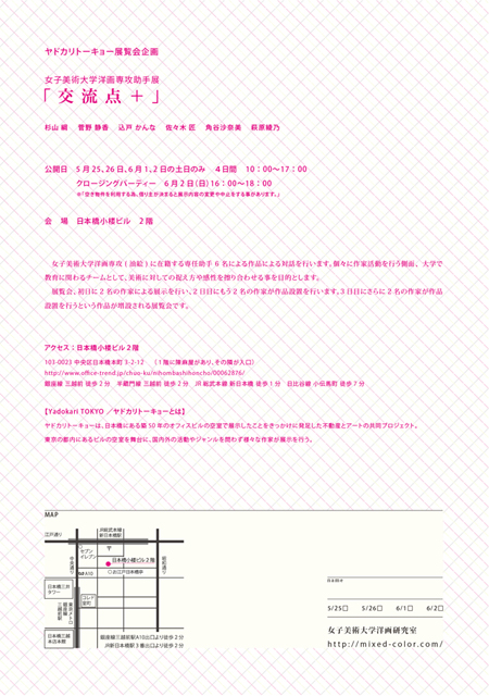 第8回ヤドカリトーキョー展覧会企画 女子美術大学洋画専攻助手展 「交流点+ 」
