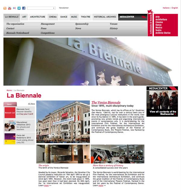 La Biennale di Venezia   Entry Page   La Biennaleのコピー