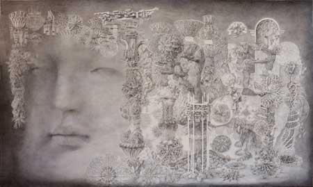 熊谷宗一|繭の中の柱 72X120cm