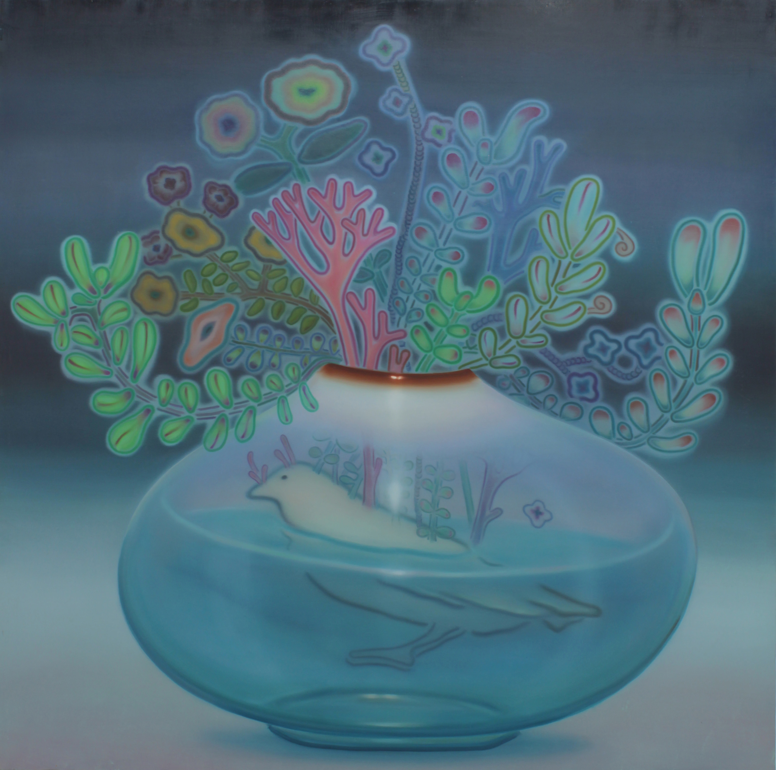 ハジマリノザワザワ 2010年 油彩 キャンバス 145.5✕145.5(cm)