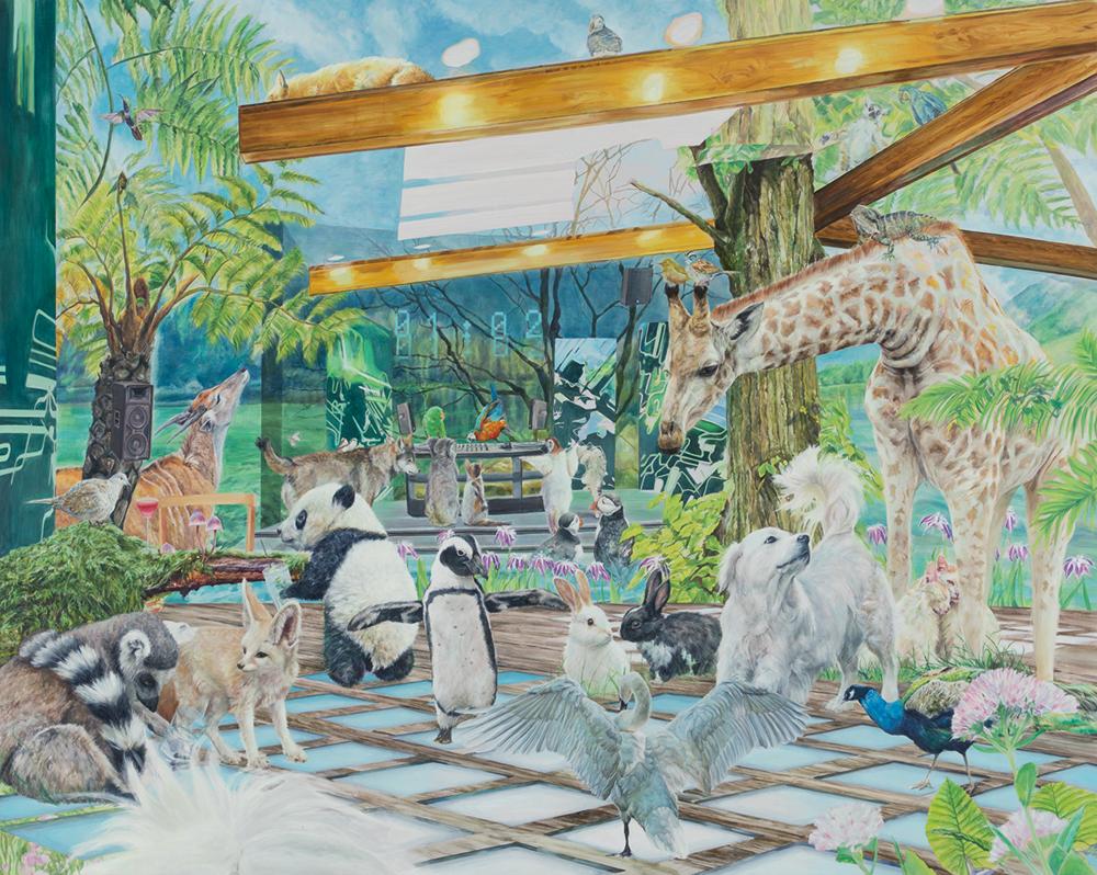 小林 真央 「01:02」 油彩、キャンバス 181.8×227.3× cm