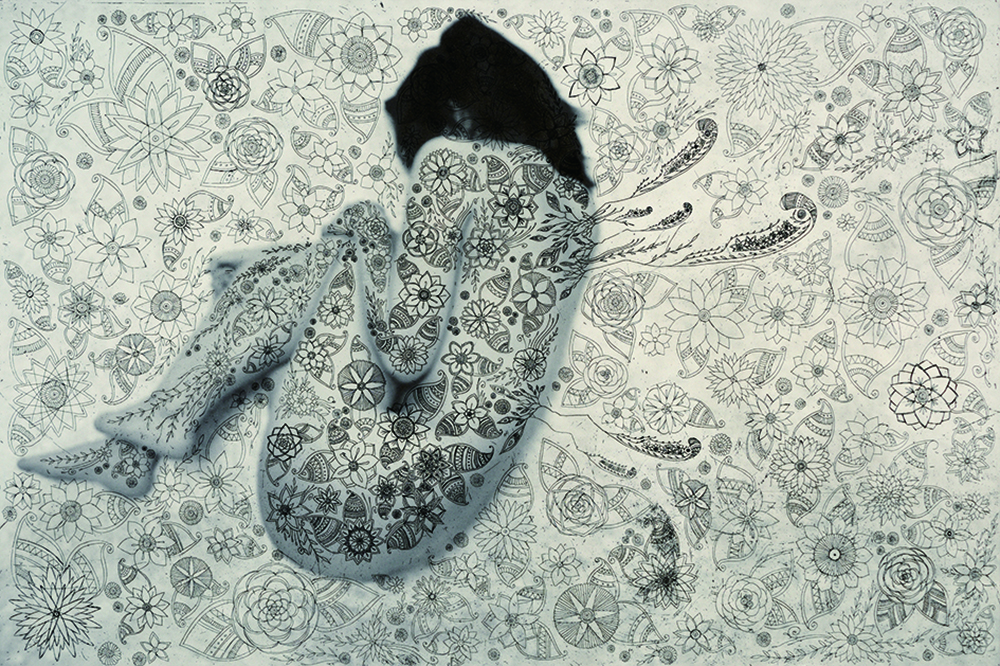 多勢恵 「冬虫夏草」 銅版画、デジタルプリント 60.5×88cm